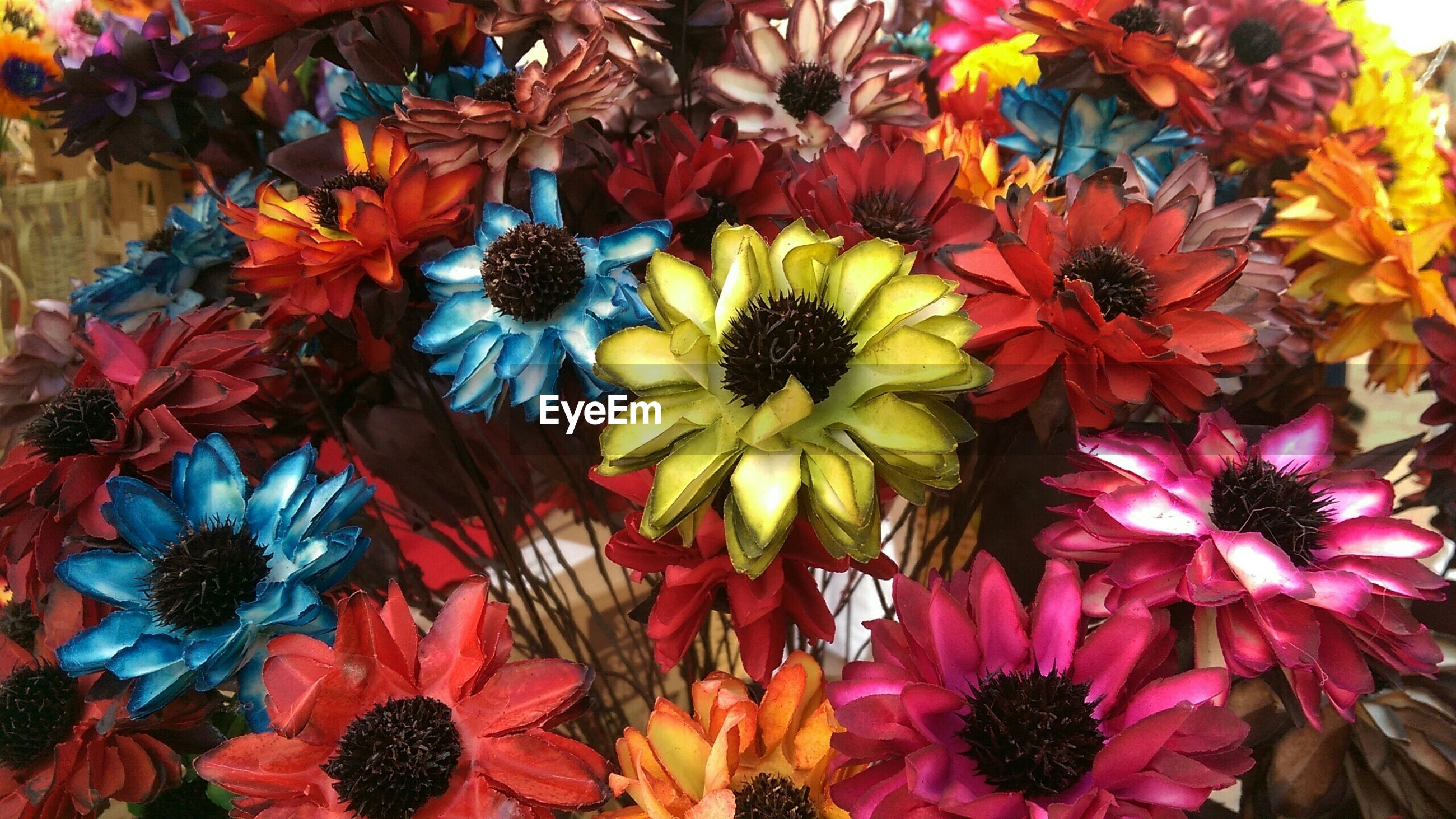 Full frame shot of multi colored artificial flowers