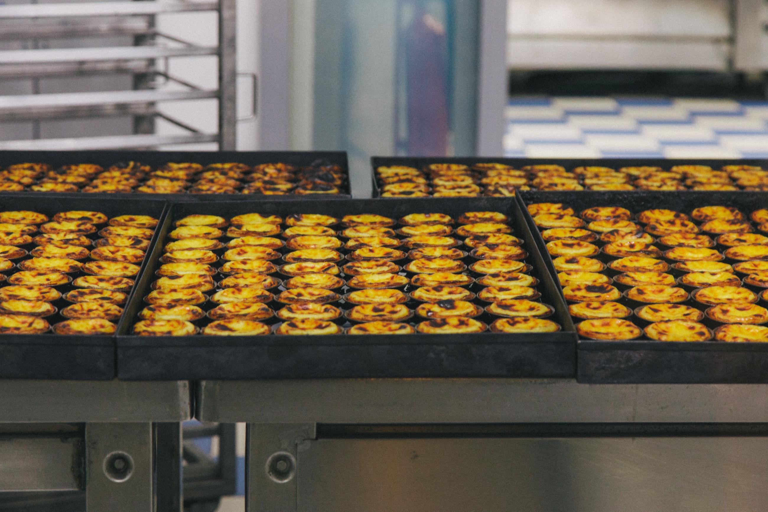 Full frame shot of food in baking sheets