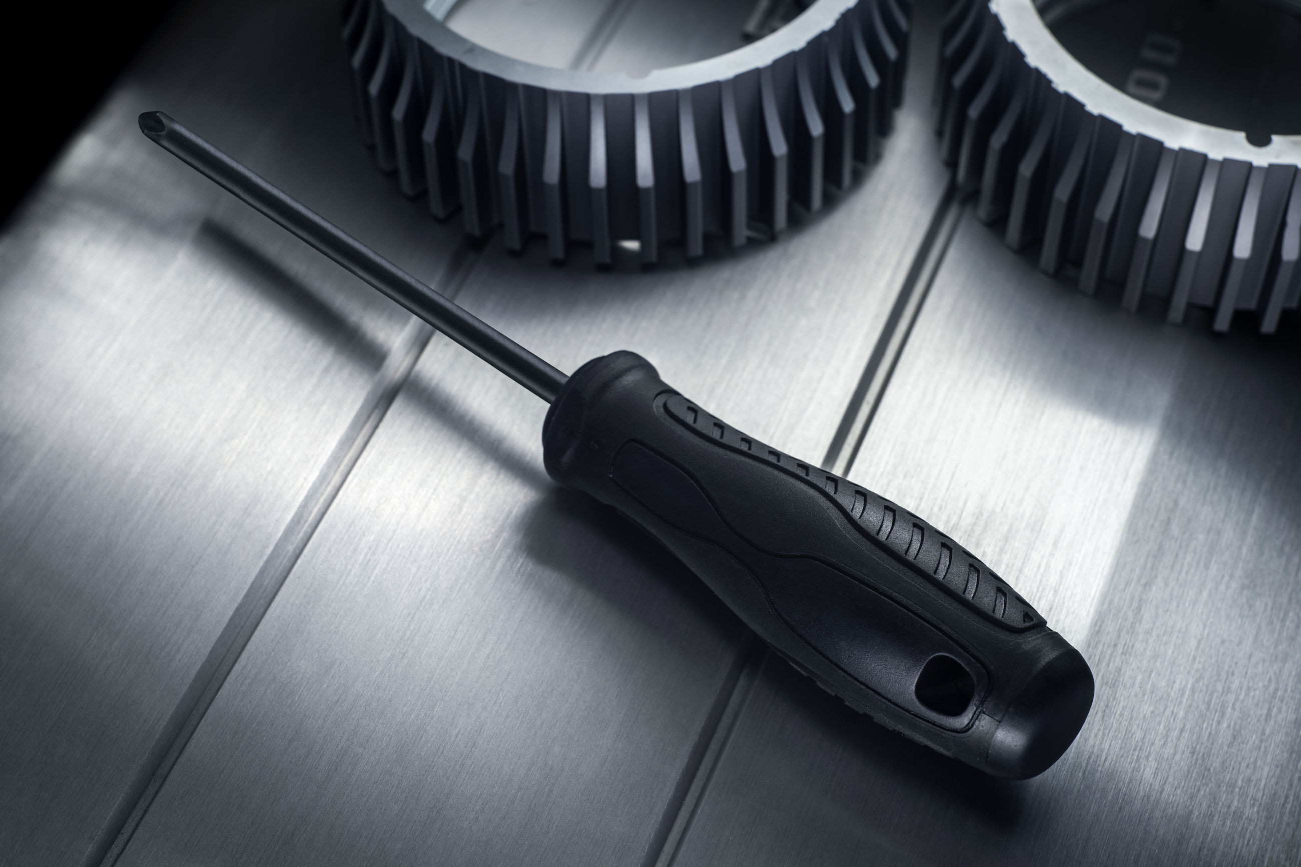 High angle view of screwdriver on table