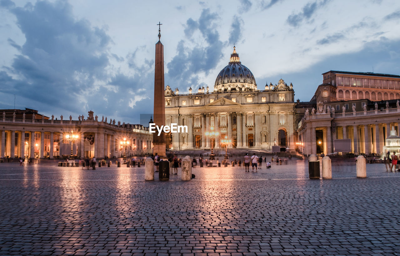 St Peters Basilica Against Sky In City At Dusk