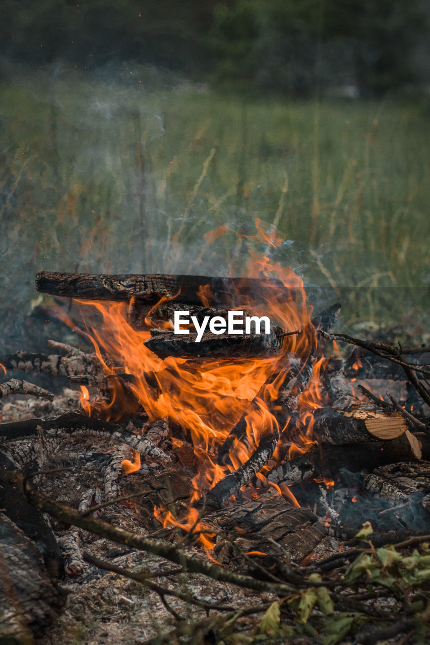 burning, fire, heat - temperature, fire - natural phenomenon, flame, wood, nature, log, wood - material, bonfire, no people, environment, land, firewood, outdoors, motion, smoke - physical structure, day, field, orange color, campfire, pollution