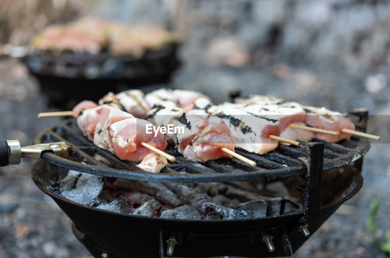 food, food and drink, seafood, freshness, barbecue, barbecue grill, focus on foreground, healthy eating, wellbeing, meat, grilled, preparation, close-up, burning, skewer, day, heat - temperature, fire, animal, preparing food, outdoors, no people