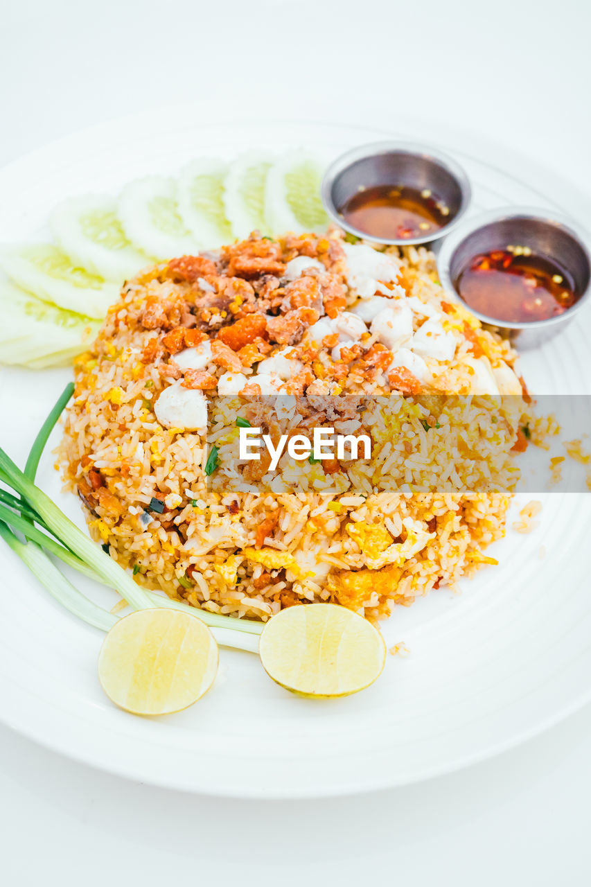 food and drink, plate, food, freshness, ready-to-eat, healthy eating, no people, indoors, rice - food staple, high angle view, serving size, indulgence, close-up, fried rice, day