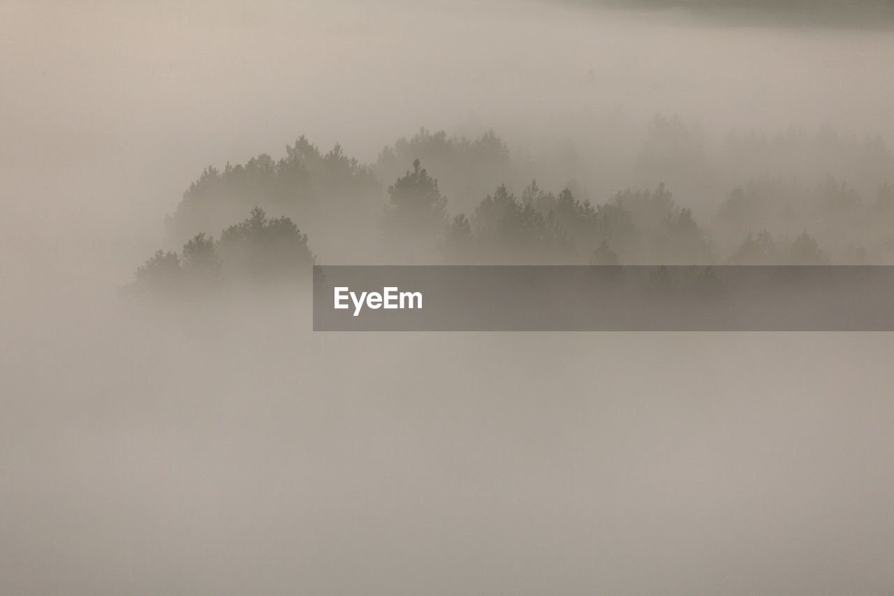 SCENIC VIEW OF LANDSCAPE AGAINST SKY AT FOGGY WEATHER