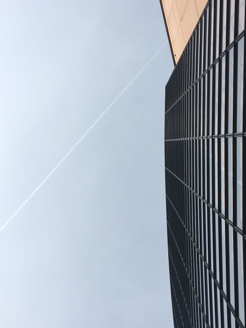 no people, outdoors, day, low angle view, vapor trail, contrail, sky, nature