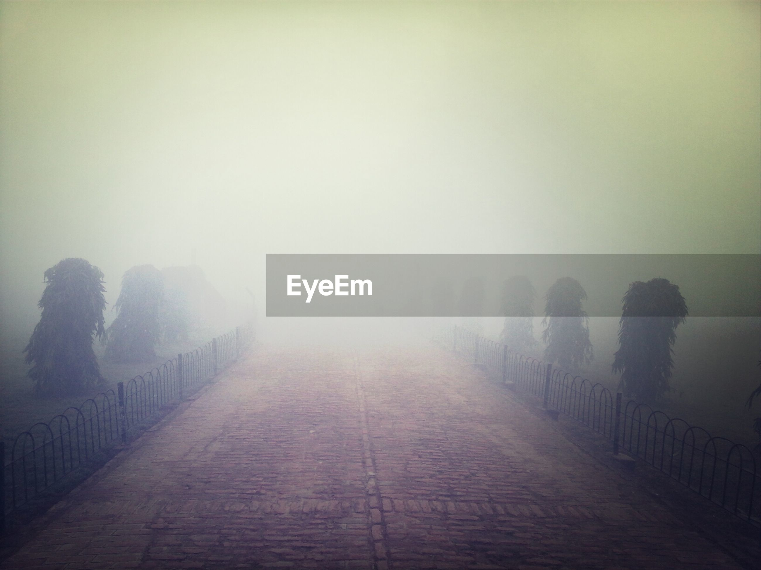 fog, foggy, the way forward, copy space, weather, tranquility, tranquil scene, diminishing perspective, nature, mist, day, built structure, vanishing point, outdoors, no people, empty, narrow, scenics, architecture