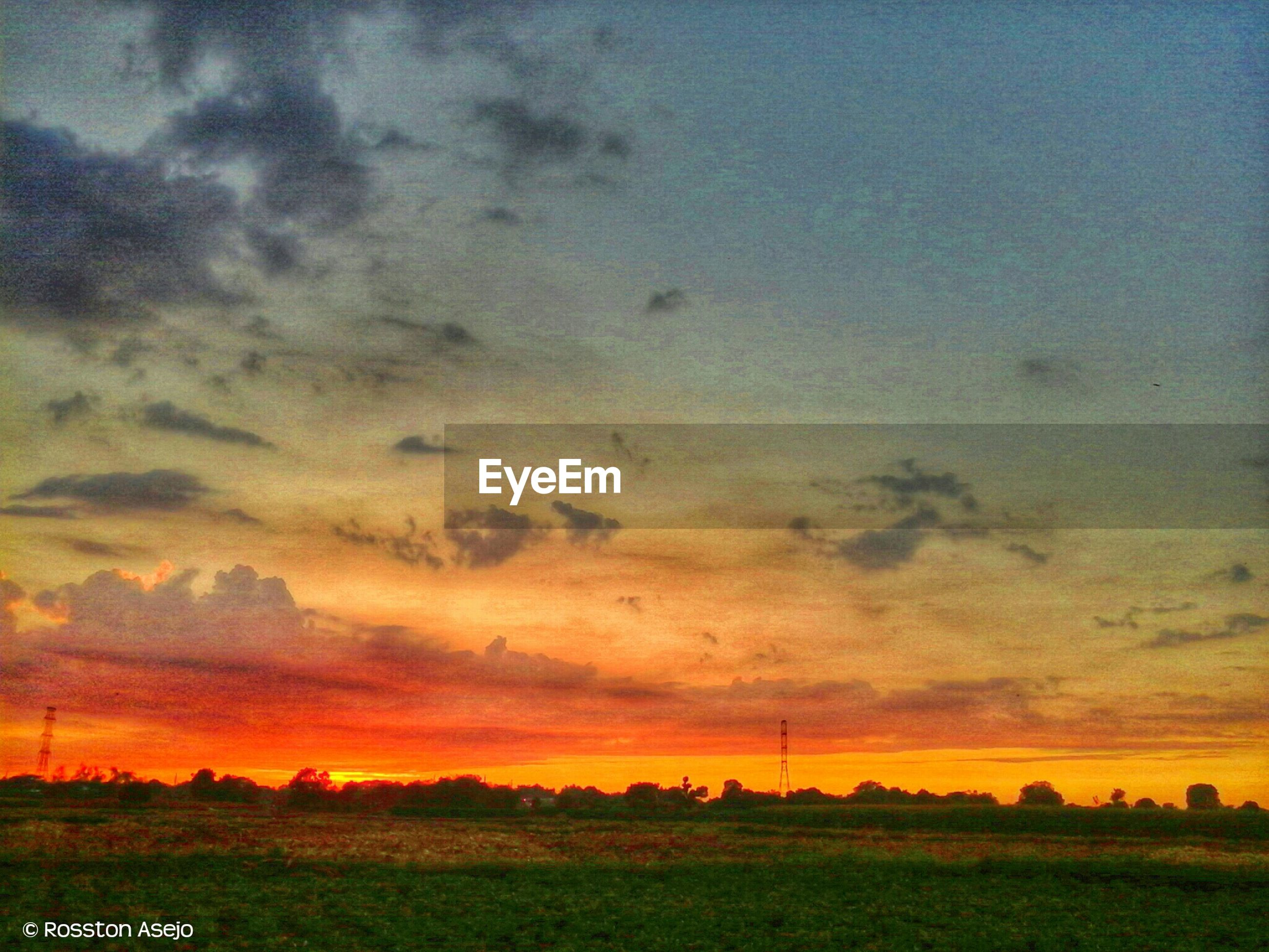 sunset, landscape, field, tranquil scene, sky, tranquility, scenics, beauty in nature, nature, cloud - sky, orange color, rural scene, idyllic, dramatic sky, cloudy, grass, agriculture, cloud, tree, outdoors