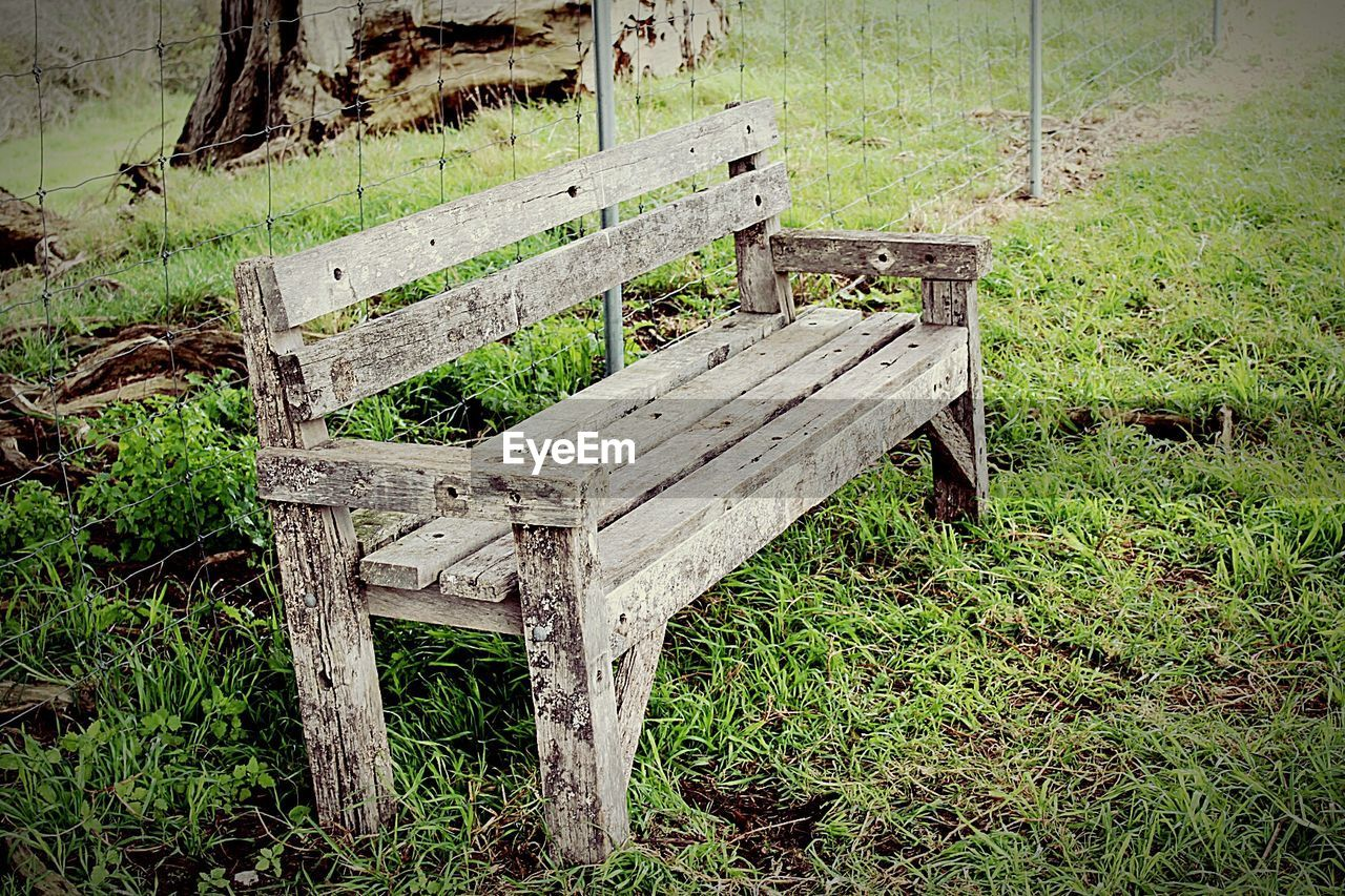 wood - material, grass, abandoned, no people, field, nature, day, green color, chair, seat, outdoors, landscape, beauty in nature