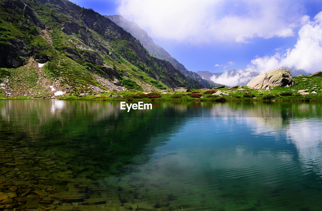 reflection, water, mountain, beauty in nature, lake, scenics - nature, tranquility, sky, cloud - sky, tranquil scene, non-urban scene, waterfront, idyllic, plant, nature, no people, day, tree, mountain range, reflection lake