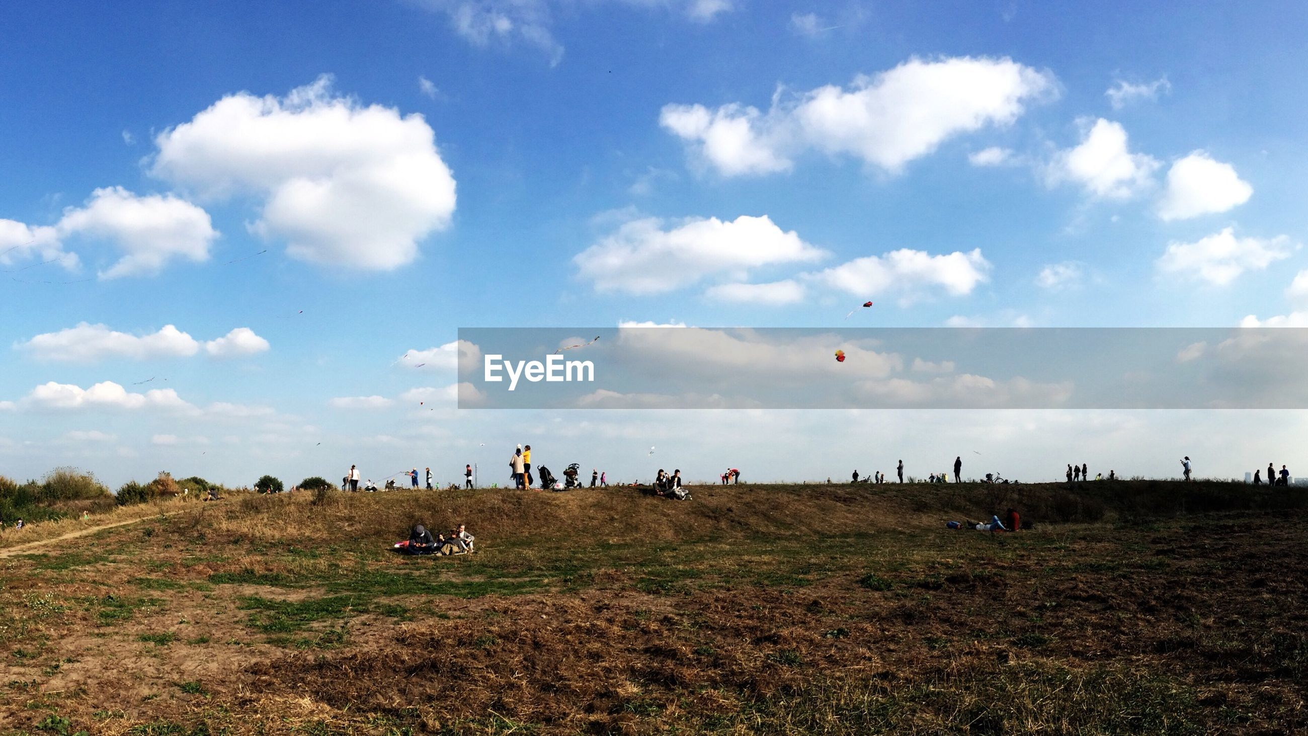 People flying kites on field against cloudy sky