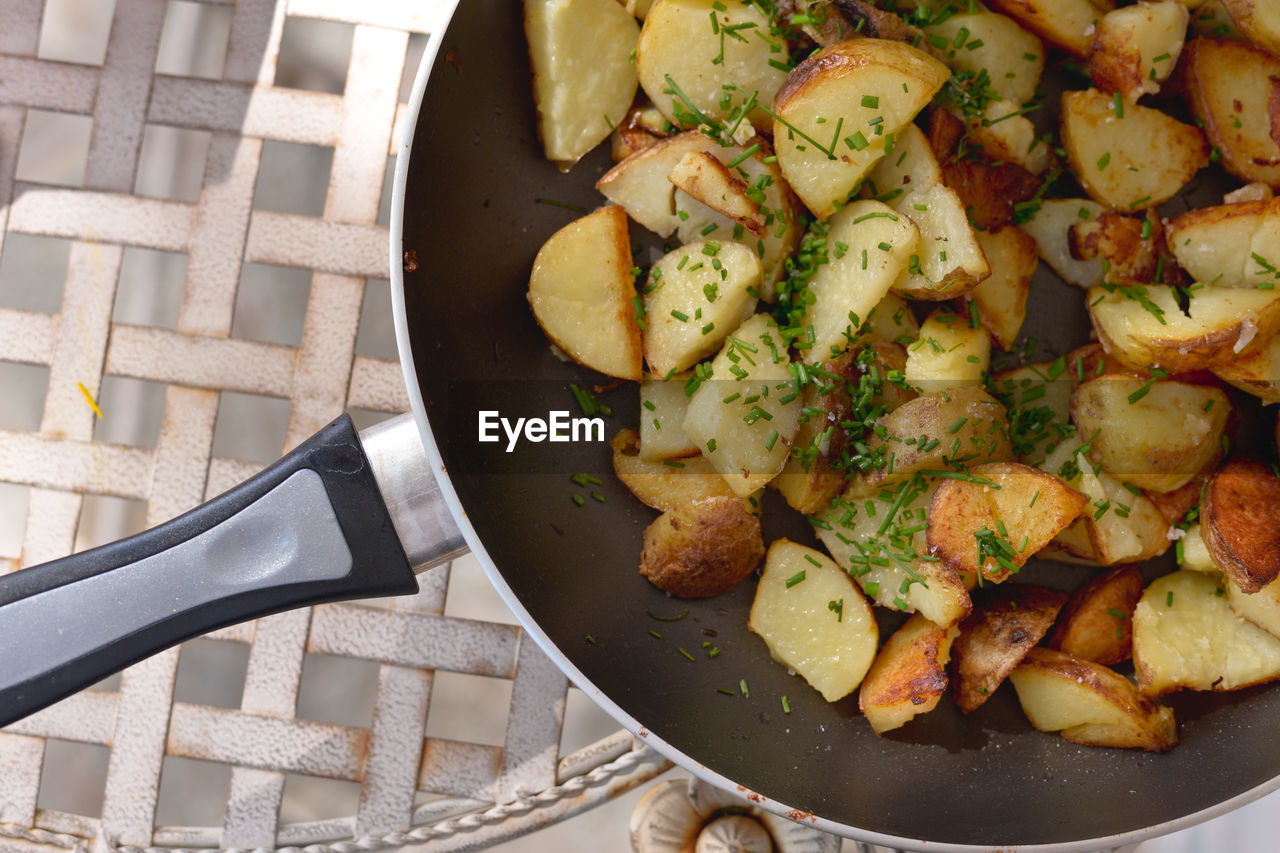 Close-Up Of Potato In Pan