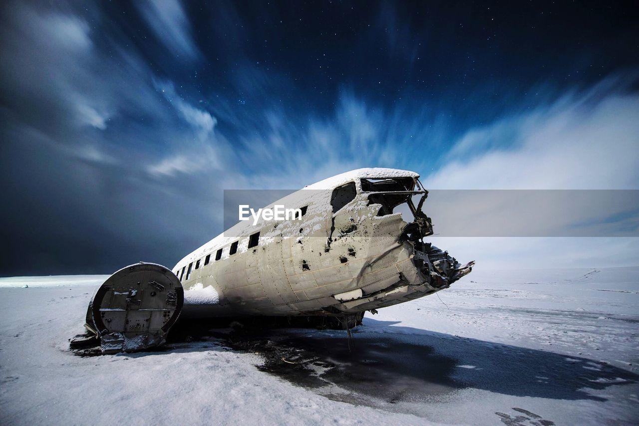 Crashed Airplane On Desert