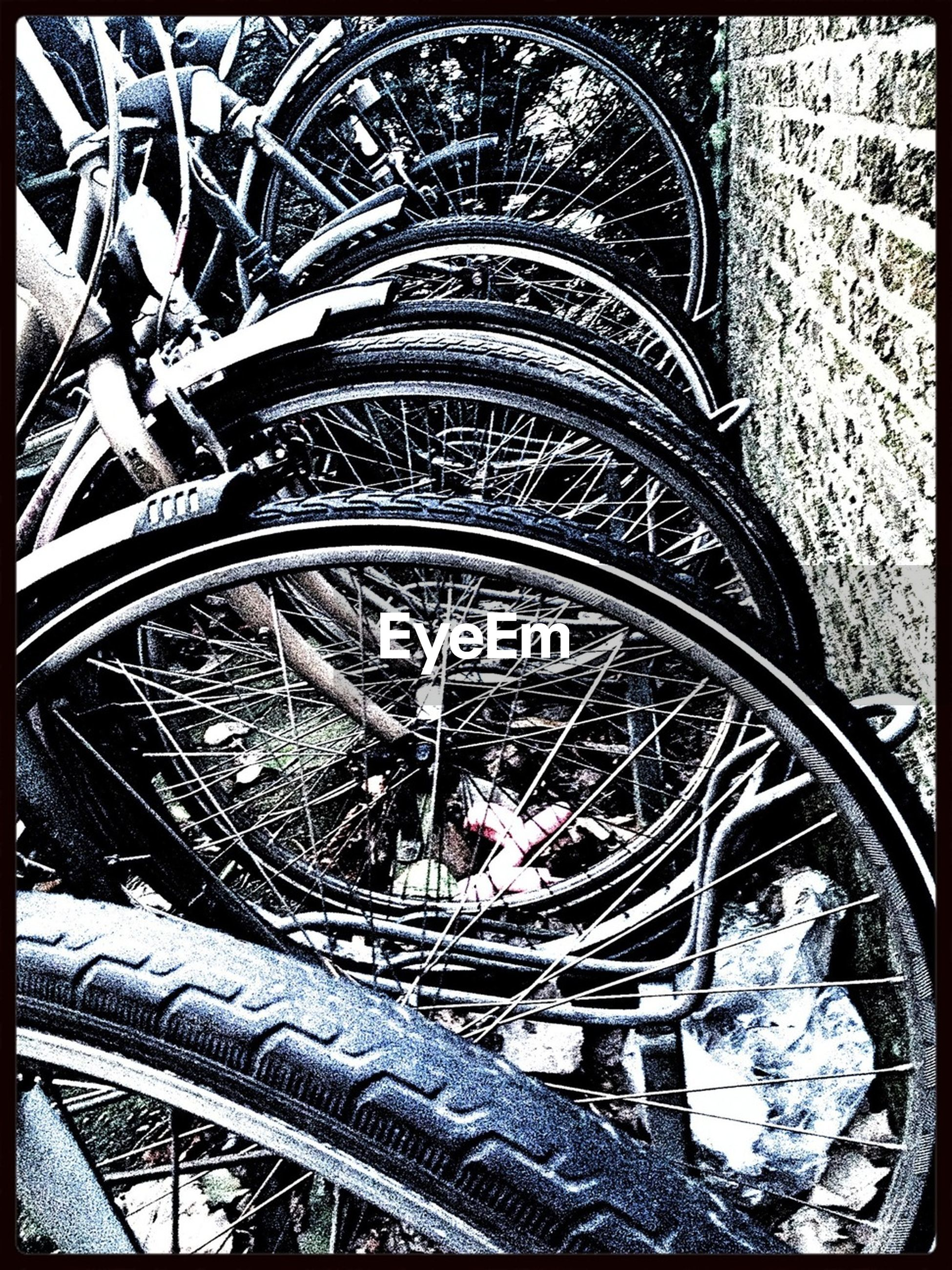 transfer print, auto post production filter, indoors, architecture, built structure, high angle view, land vehicle, transportation, metal, pattern, design, old, bicycle, no people, travel, art and craft, close-up, day, retro styled, history
