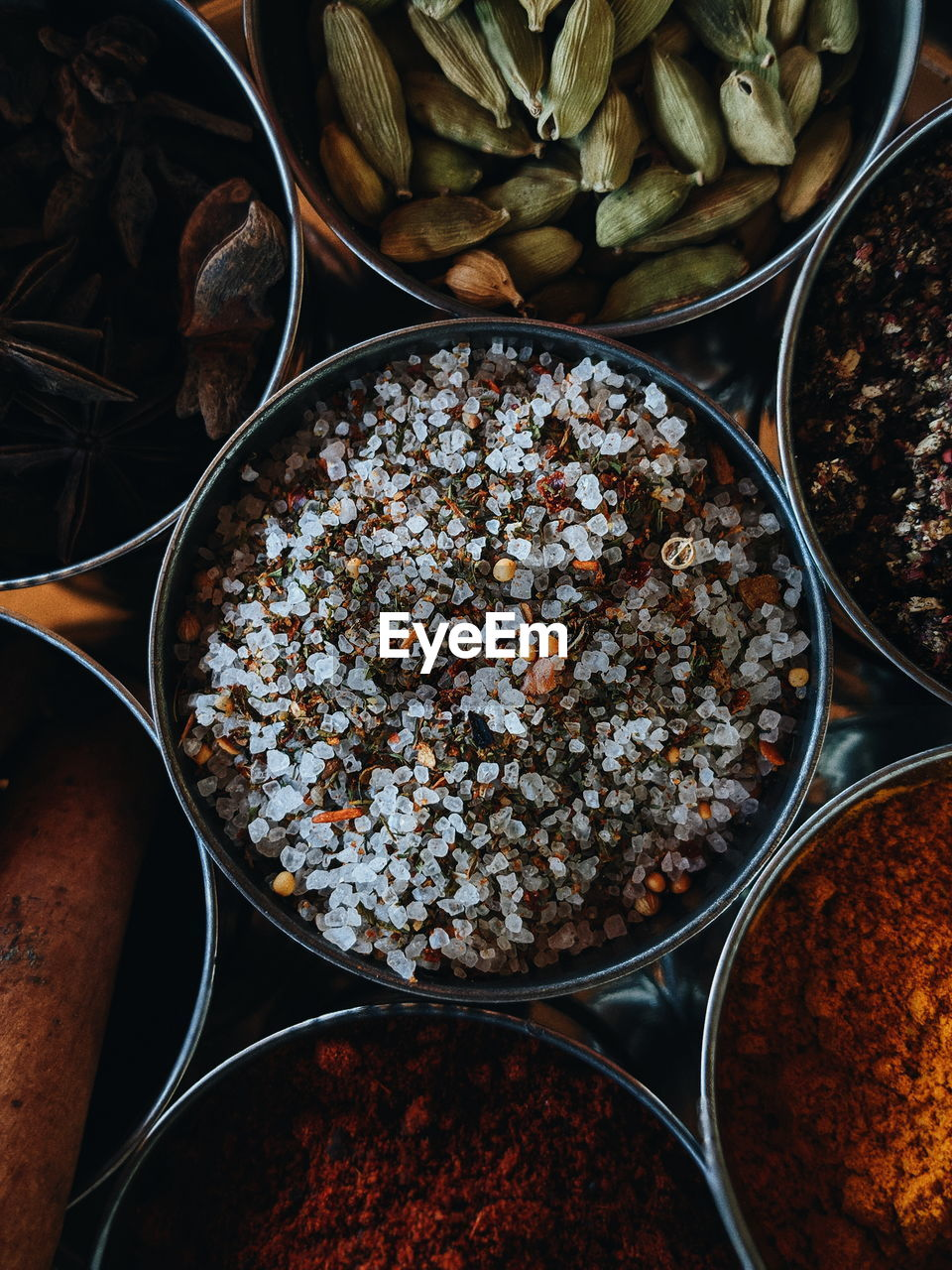 Directly Above Shot Of Spices In Bowls On Table