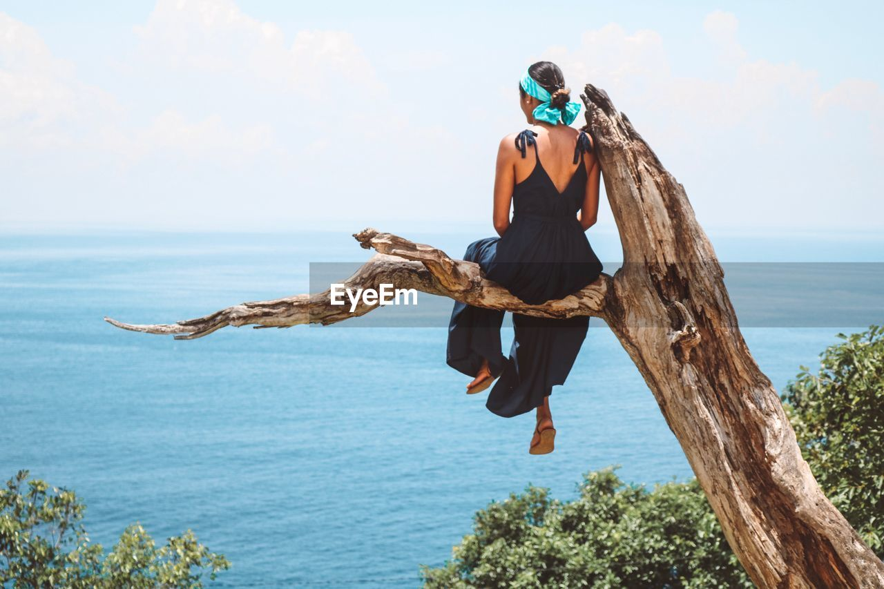 Full Length Rear View Of Woman Sitting On Branch By Sea Against Sky
