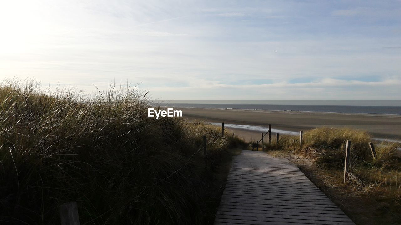water, sky, tranquility, beauty in nature, sea, tranquil scene, footpath, land, nature, plant, grass, beach, horizon over water, scenics - nature, boardwalk, horizon, cloud - sky, wood - material, direction, the way forward, no people, marram grass, outdoors, wood paneling, timothy grass