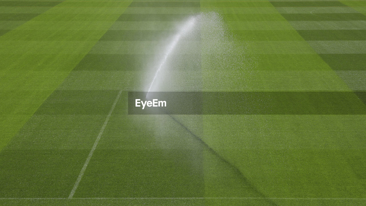 Field is being sprayed before a champions league match