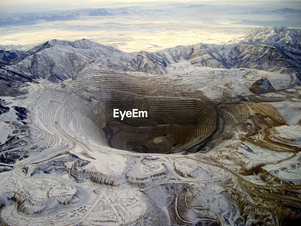 High Angle View Of Bingham Canyon Open Pit Copper Mine At Sunset