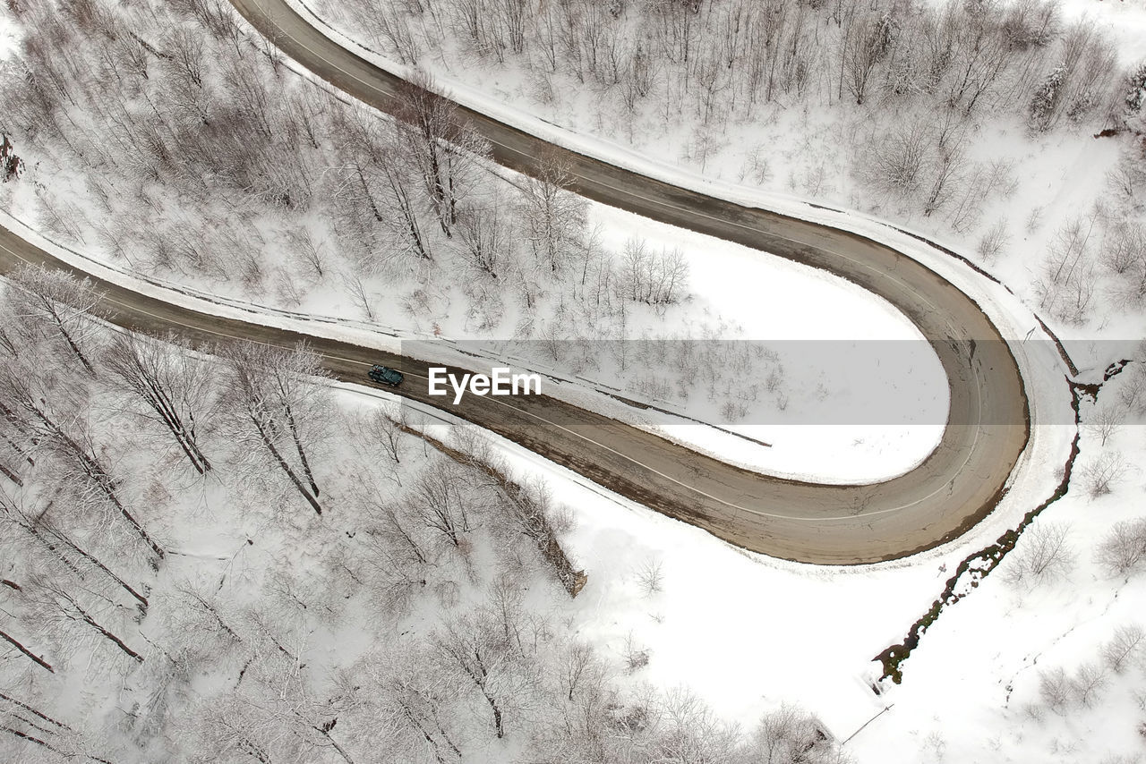 High Angle View Of Winding Road During Winter