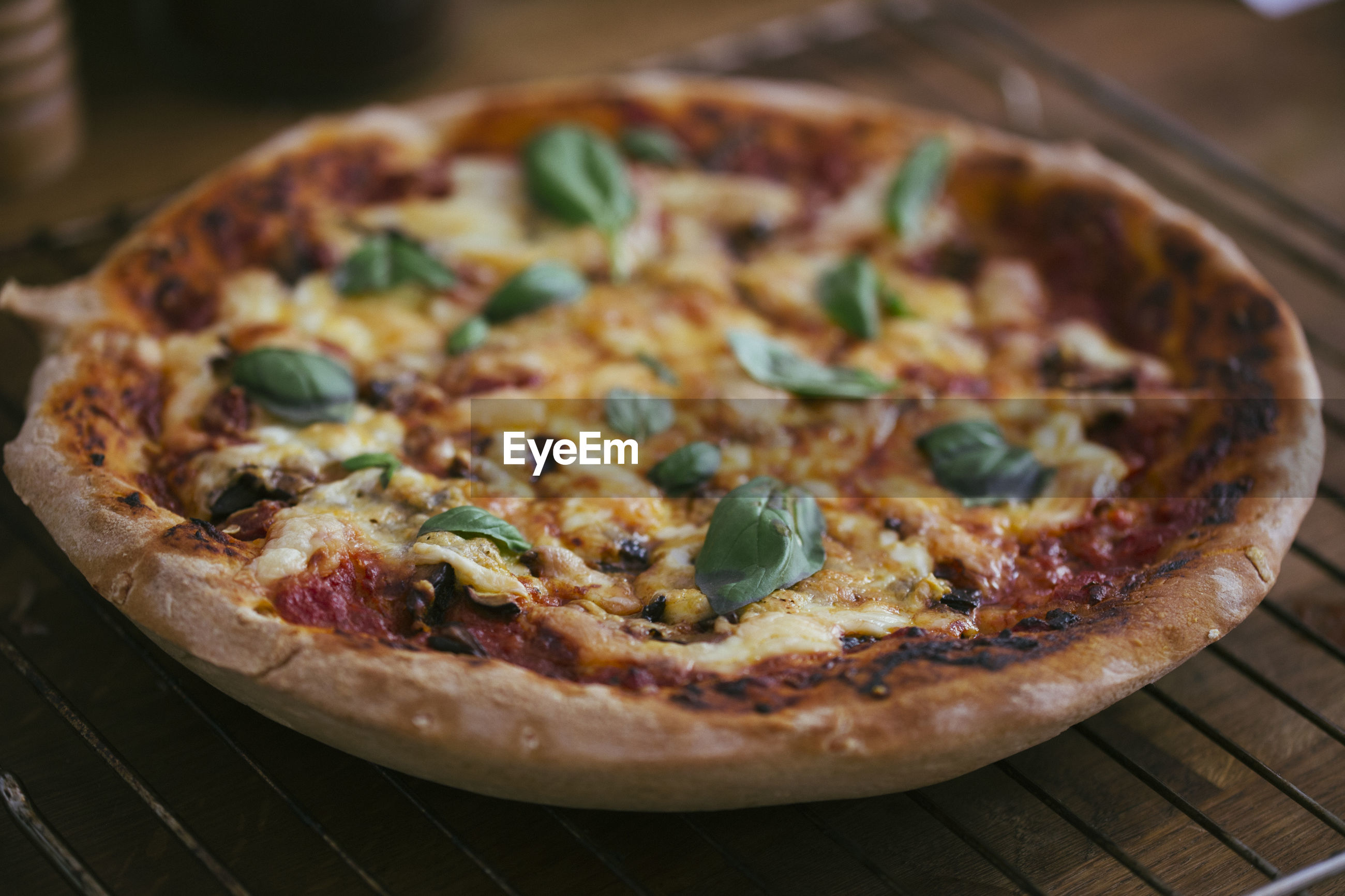 Close-up of pizza on tray