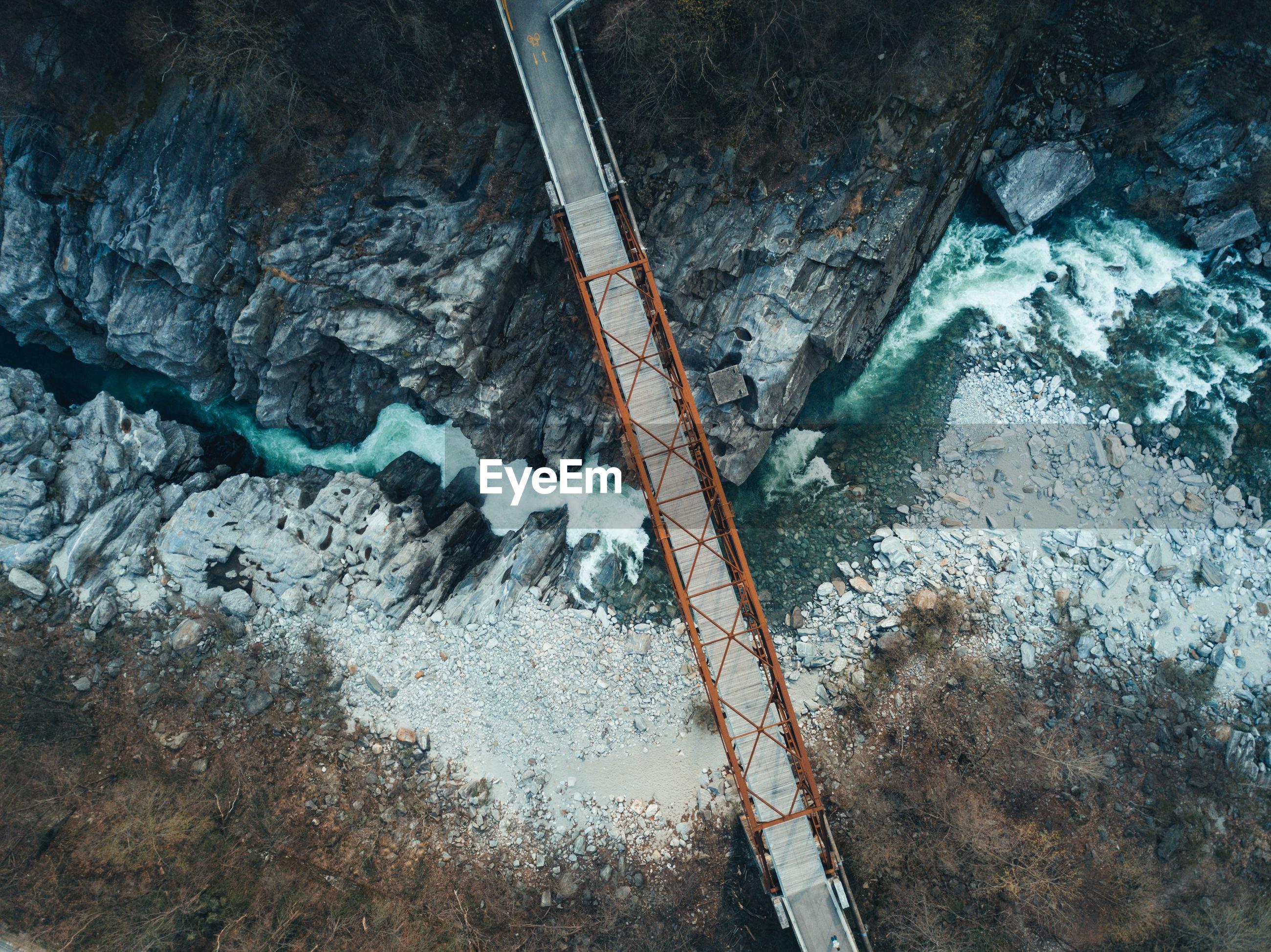 Directly above shot of footbridge over river