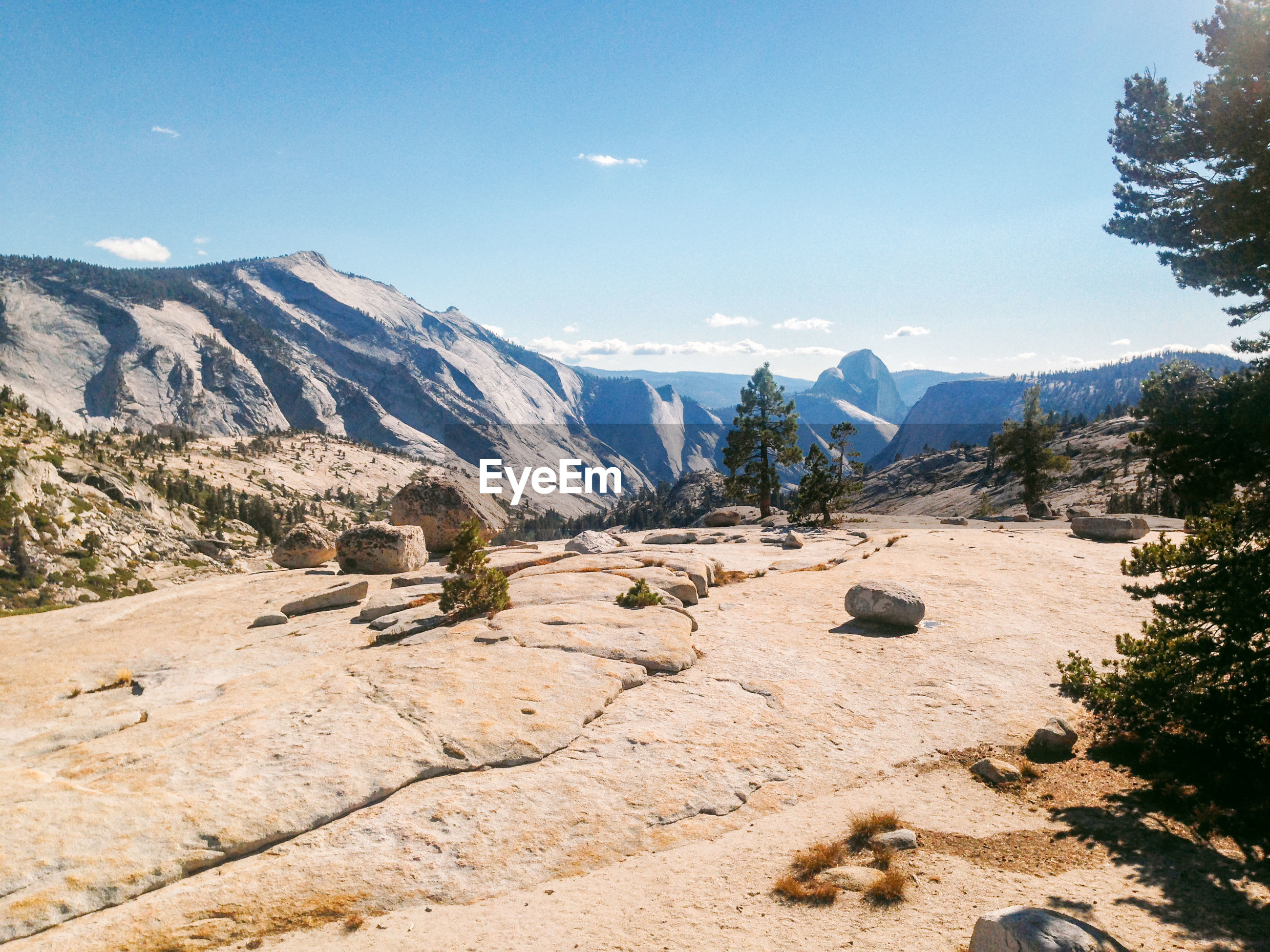 Scenic view of yosemite national park against blue sky
