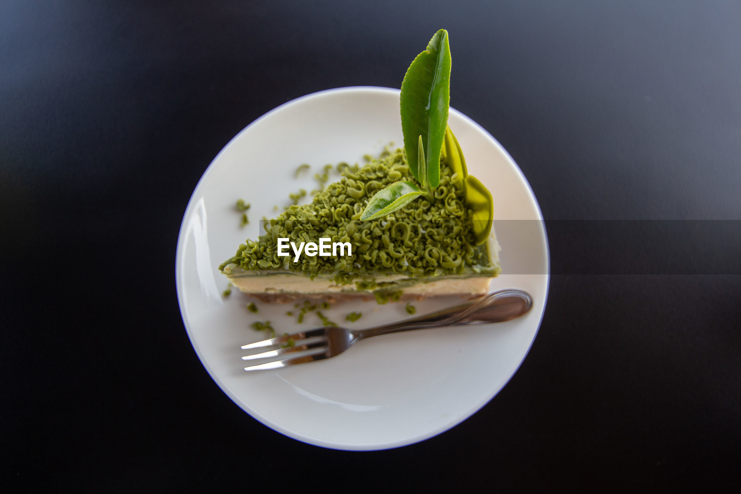 Directly above shot of dessert in plate on table