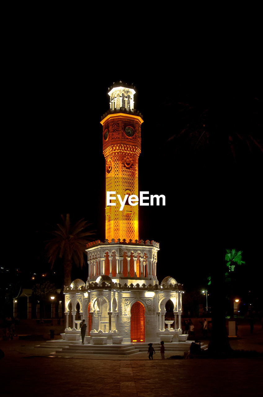 night, illuminated, architecture, palm tree, building exterior, no people, outdoors, sky, city