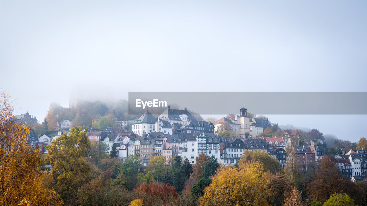 Panoramic View Of Townscape Against Clear Sky