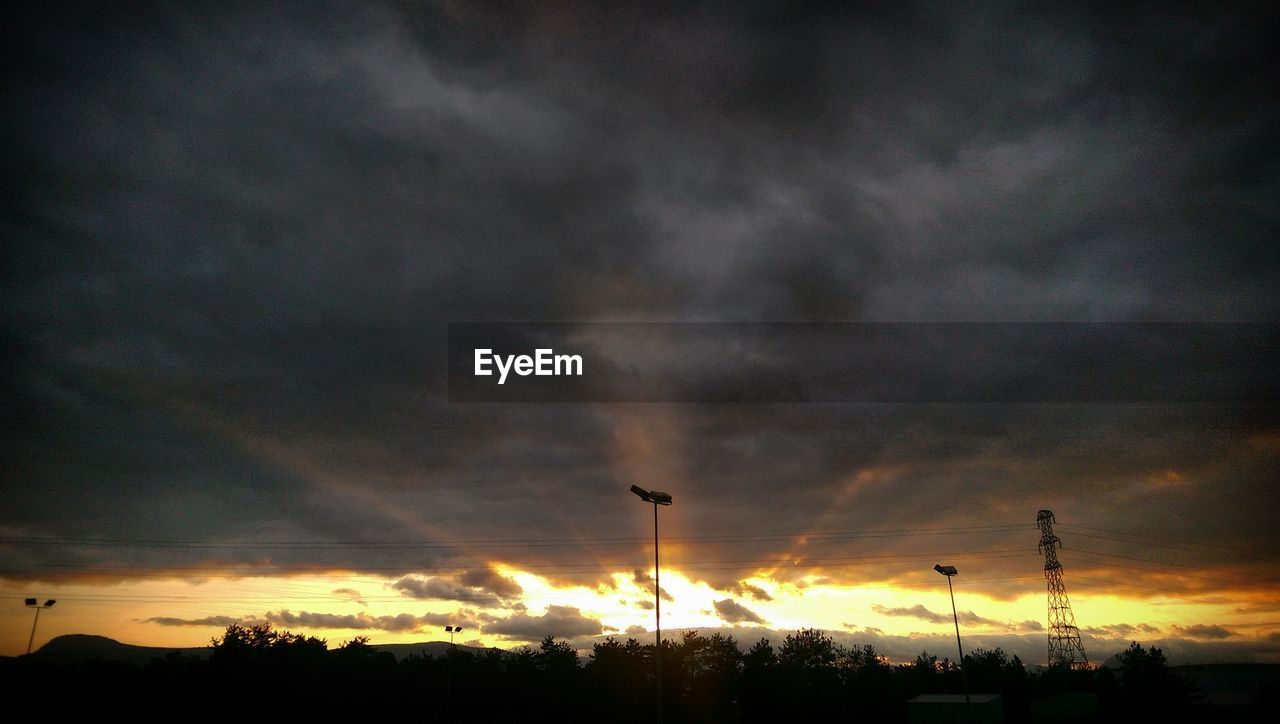 sky, sunset, silhouette, cloud - sky, no people, nature, outdoors, beauty in nature, street light, scenics, low angle view, tree, day