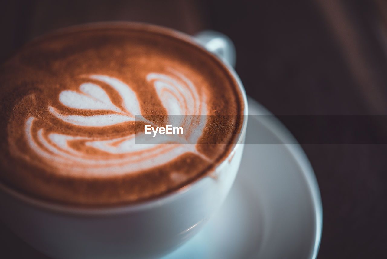 coffee - drink, coffee, food and drink, refreshment, drink, coffee cup, still life, frothy drink, cup, mug, hot drink, cappuccino, froth art, close-up, indoors, food, saucer, crockery, freshness, table, latte, no people, non-alcoholic beverage, temptation