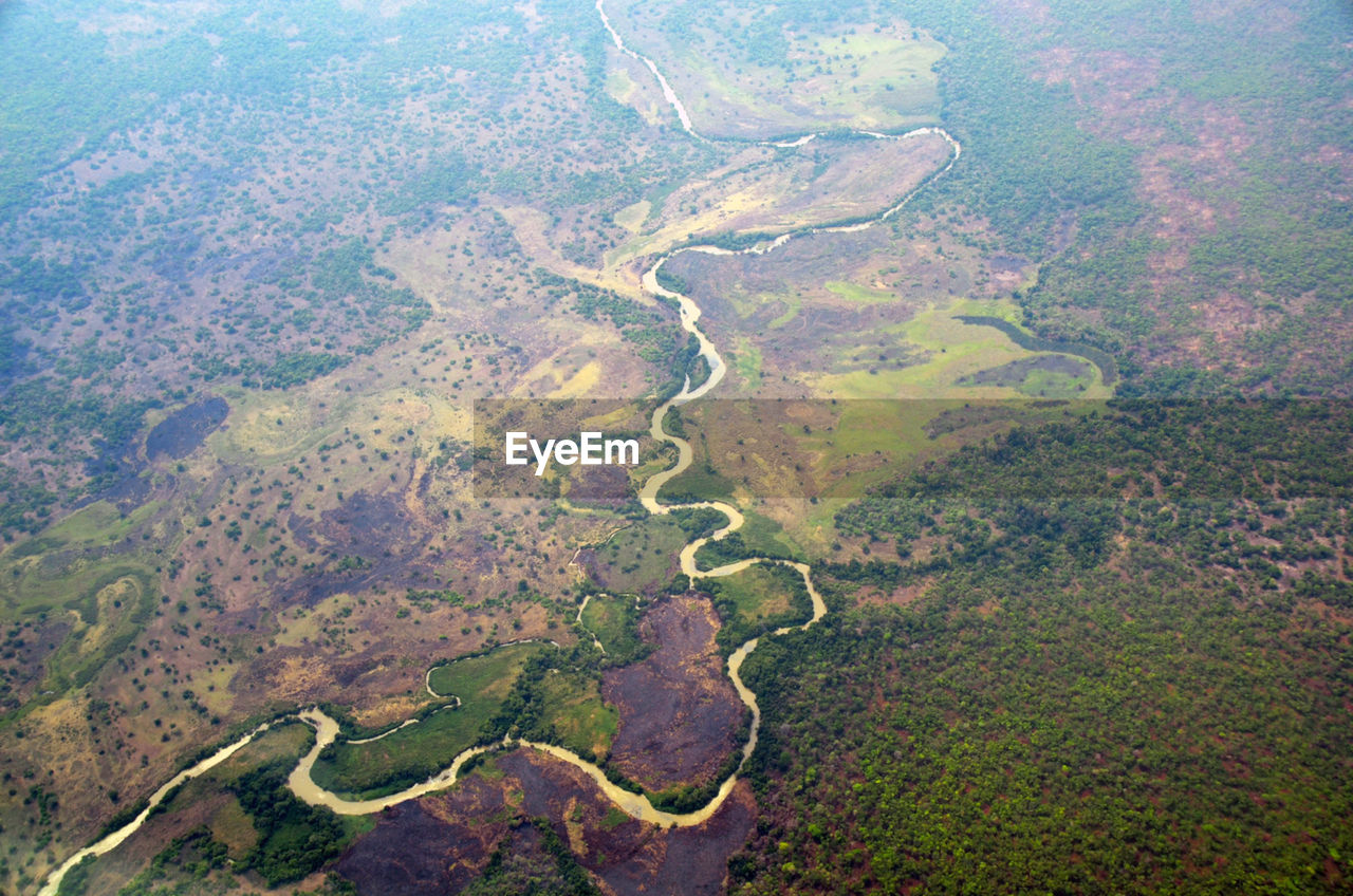 Aerial shot of countryside landscape