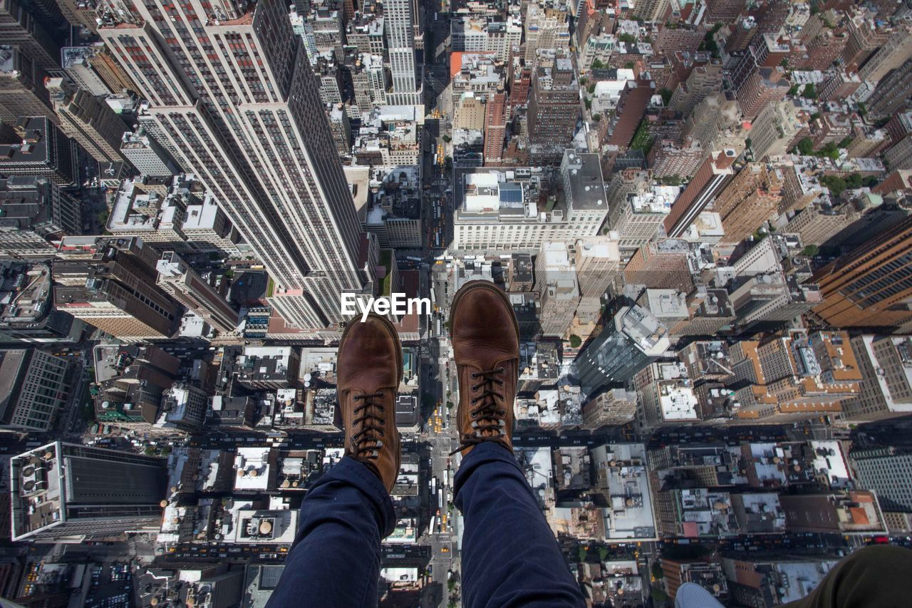 High angle view of person above city