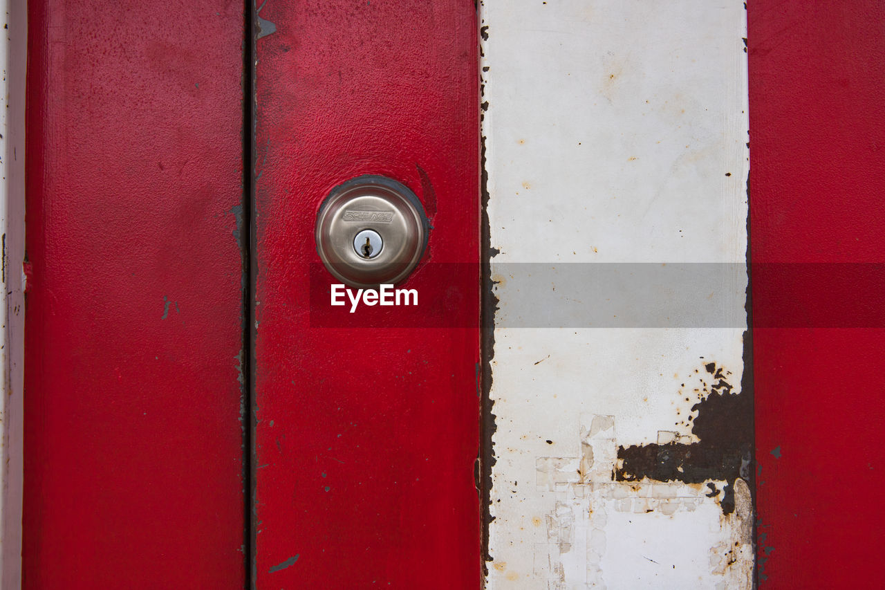 red, door, full frame, close-up, safety, no people, textured, backgrounds, protection, day, outdoors, hinge