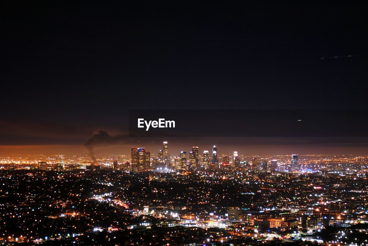 Aerial View Of Illuminated City At Night