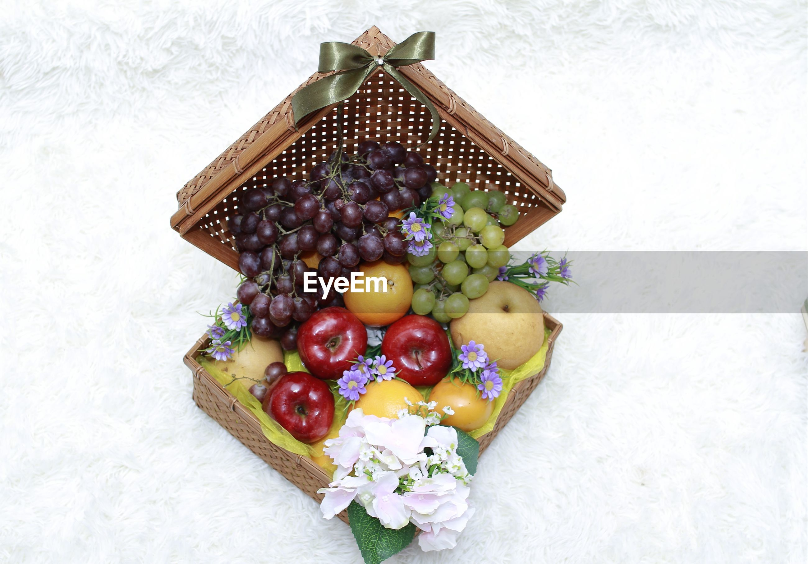 High angle view of grapes in container