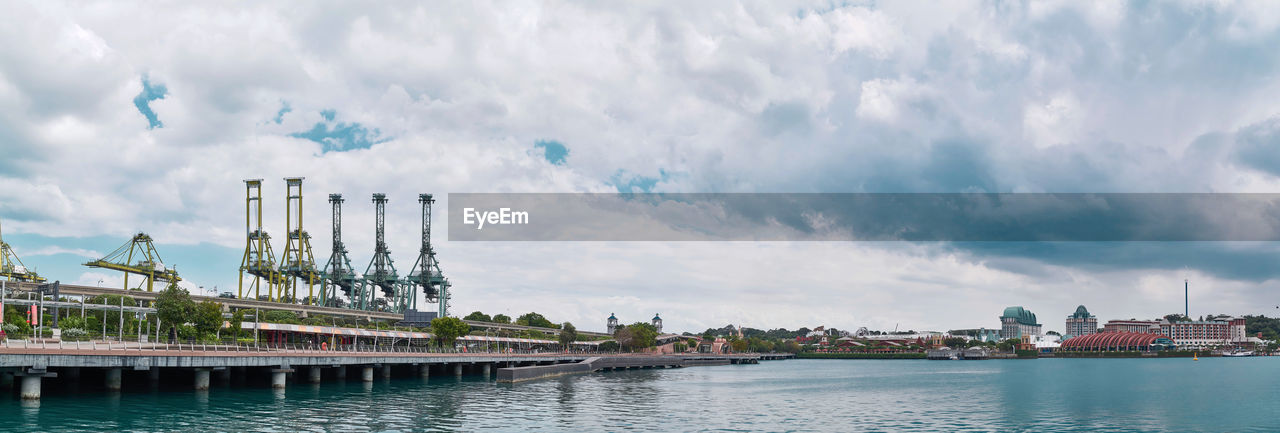 cloud - sky, built structure, architecture, sky, building exterior, water, nature, industry, factory, day, waterfront, transportation, city, no people, outdoors, smoke stack, panoramic, river, travel destinations