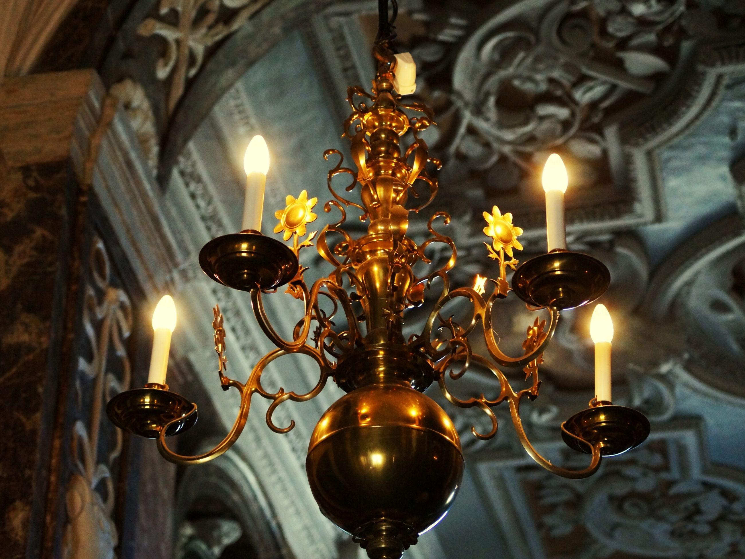Close-up of illuminated chandelier