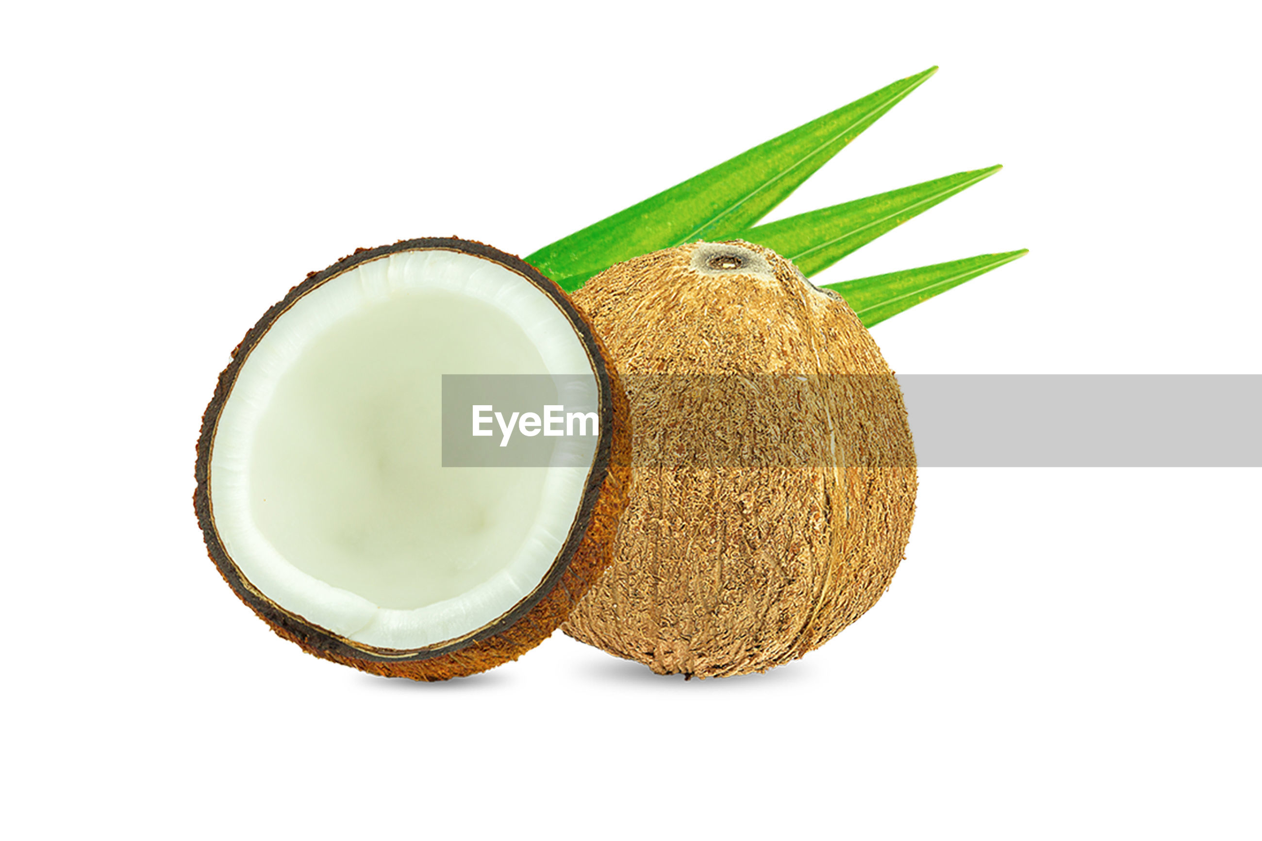 Coconut pieces isolated on a white background.healthy food, skin care concept.