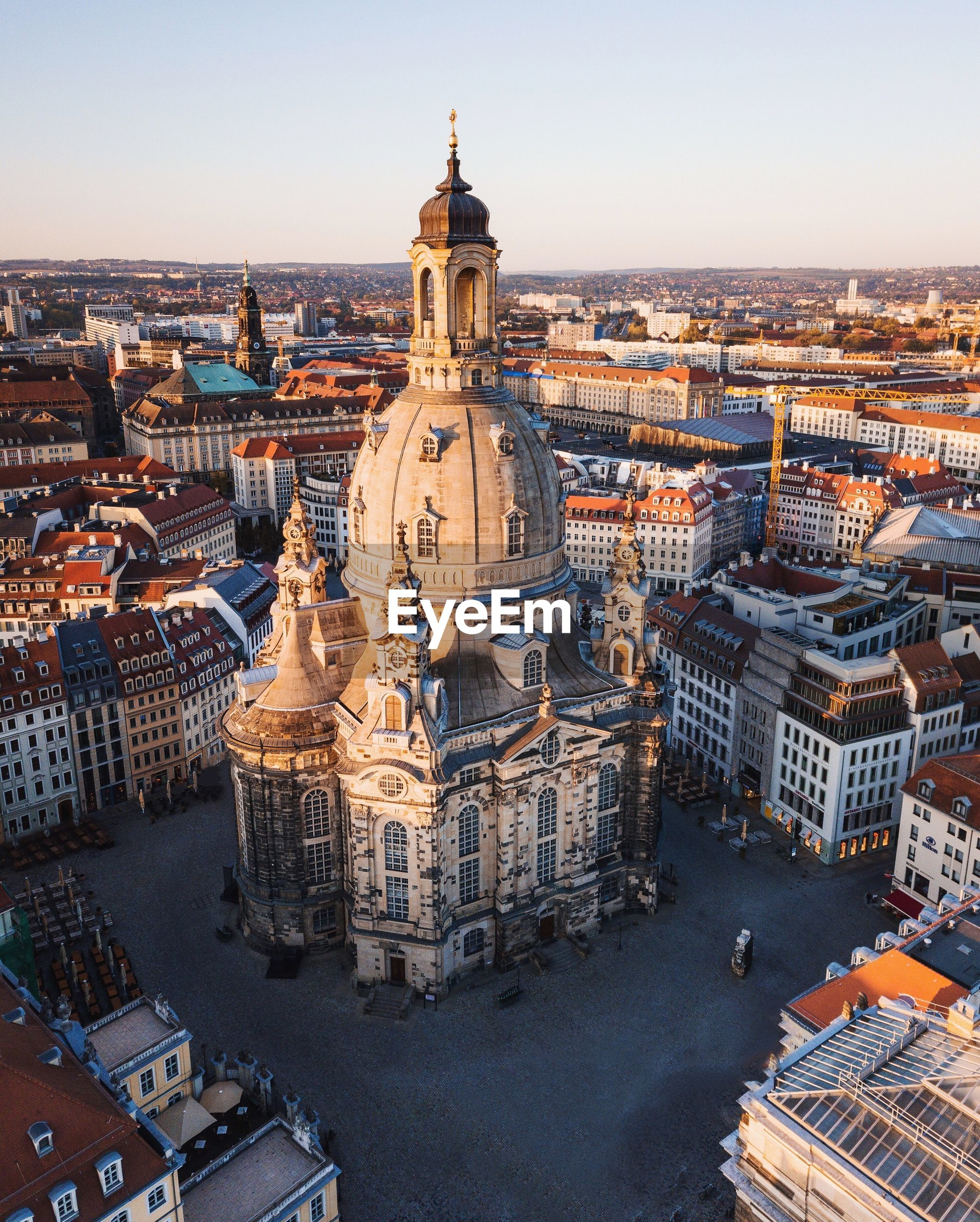 High angle view of dresden frauenkirche church in germany