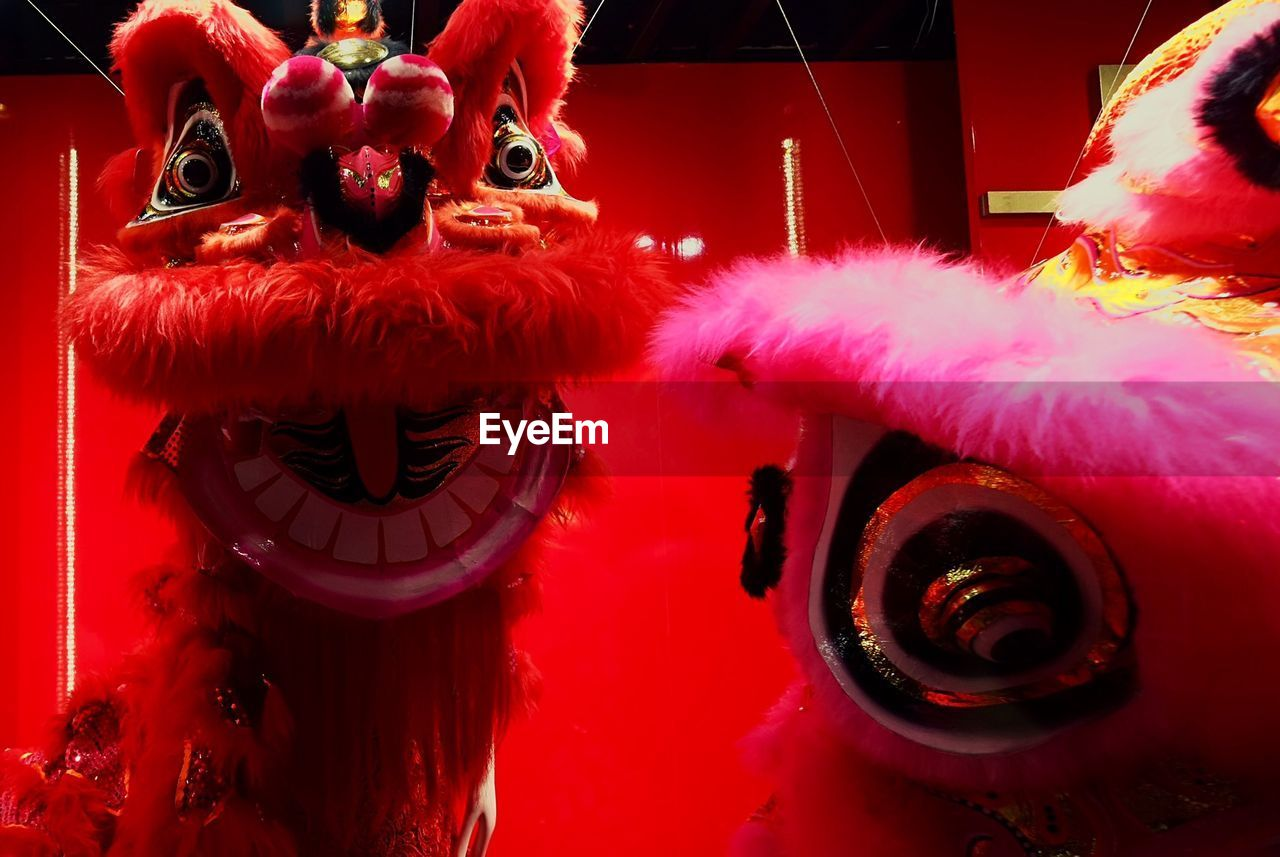 Red Chinese Dragon Against Wall