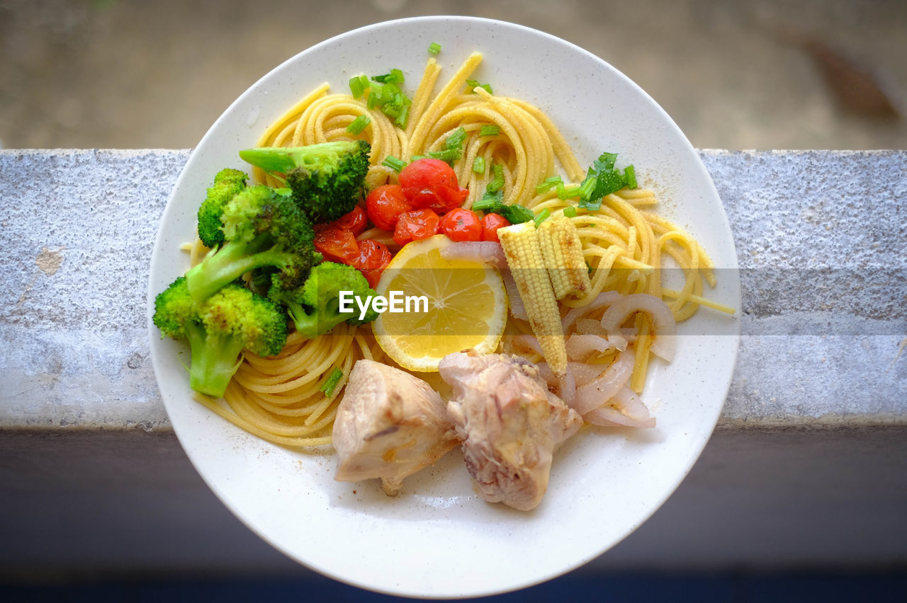 High angle view of meal served in plate on table