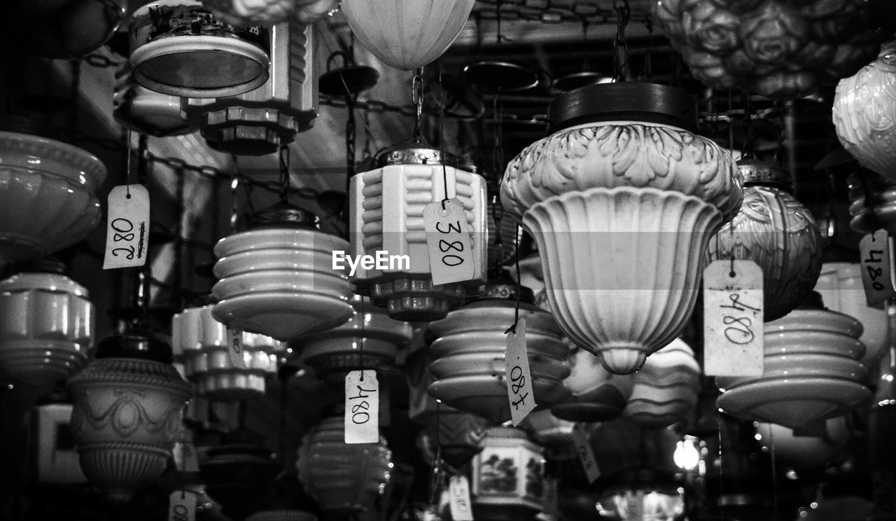 Antique Lamps With Price Tags At Shop