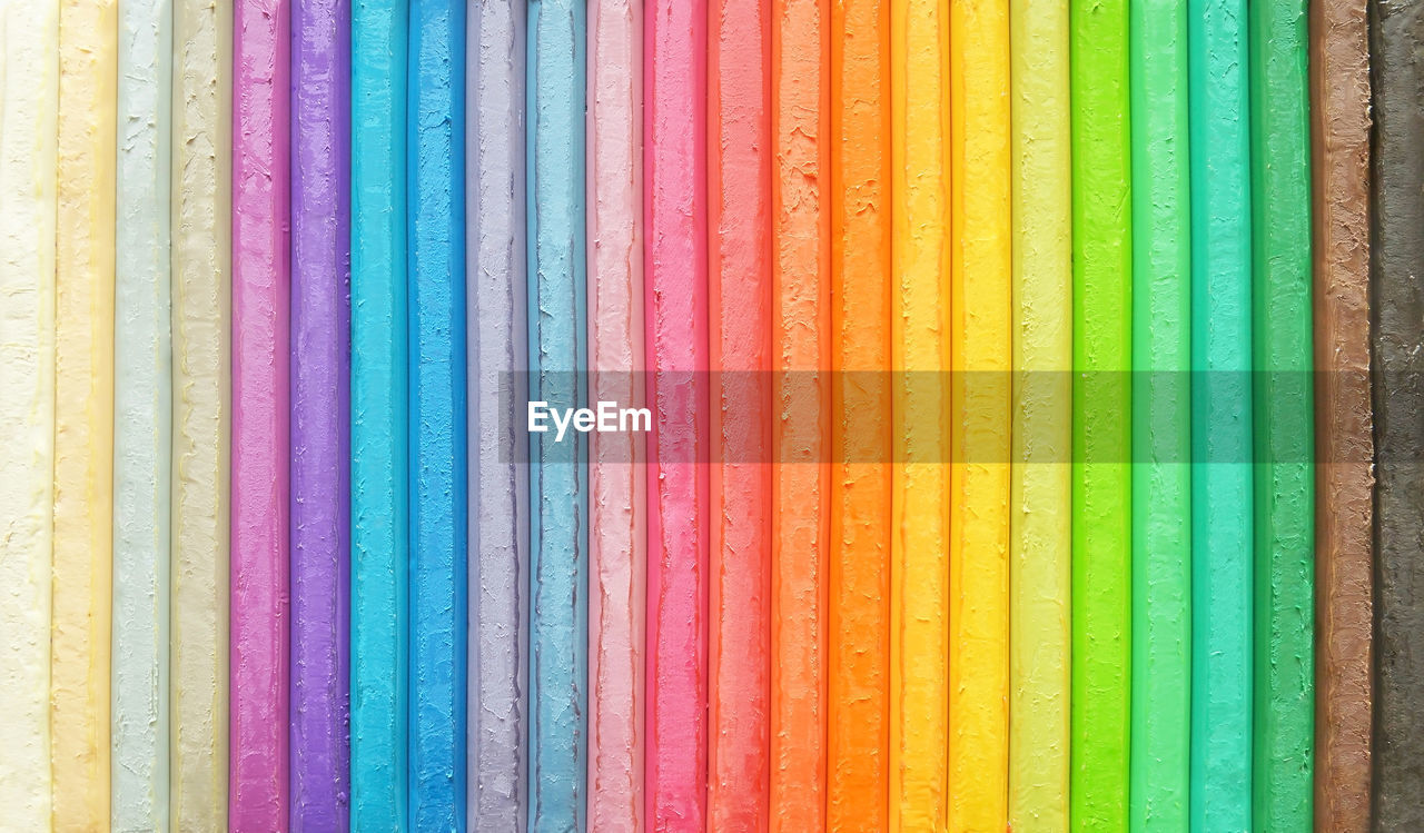 multi colored, full frame, variation, choice, backgrounds, no people, close-up, indoors, pattern, art and craft, in a row, side by side, textile, creativity, craft, arrangement, still life, order, large group of objects, colored pencil, art and craft equipment, variety