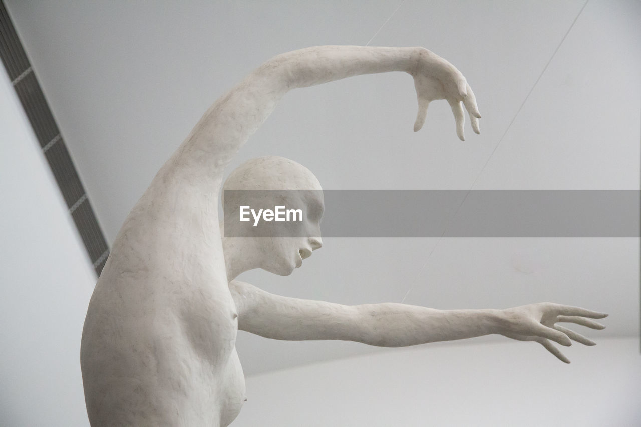 indoors, white color, representation, art and craft, no people, one animal, creativity, mammal, sculpture, domestic, vertebrate, body part, dog, low angle view, canine, human representation