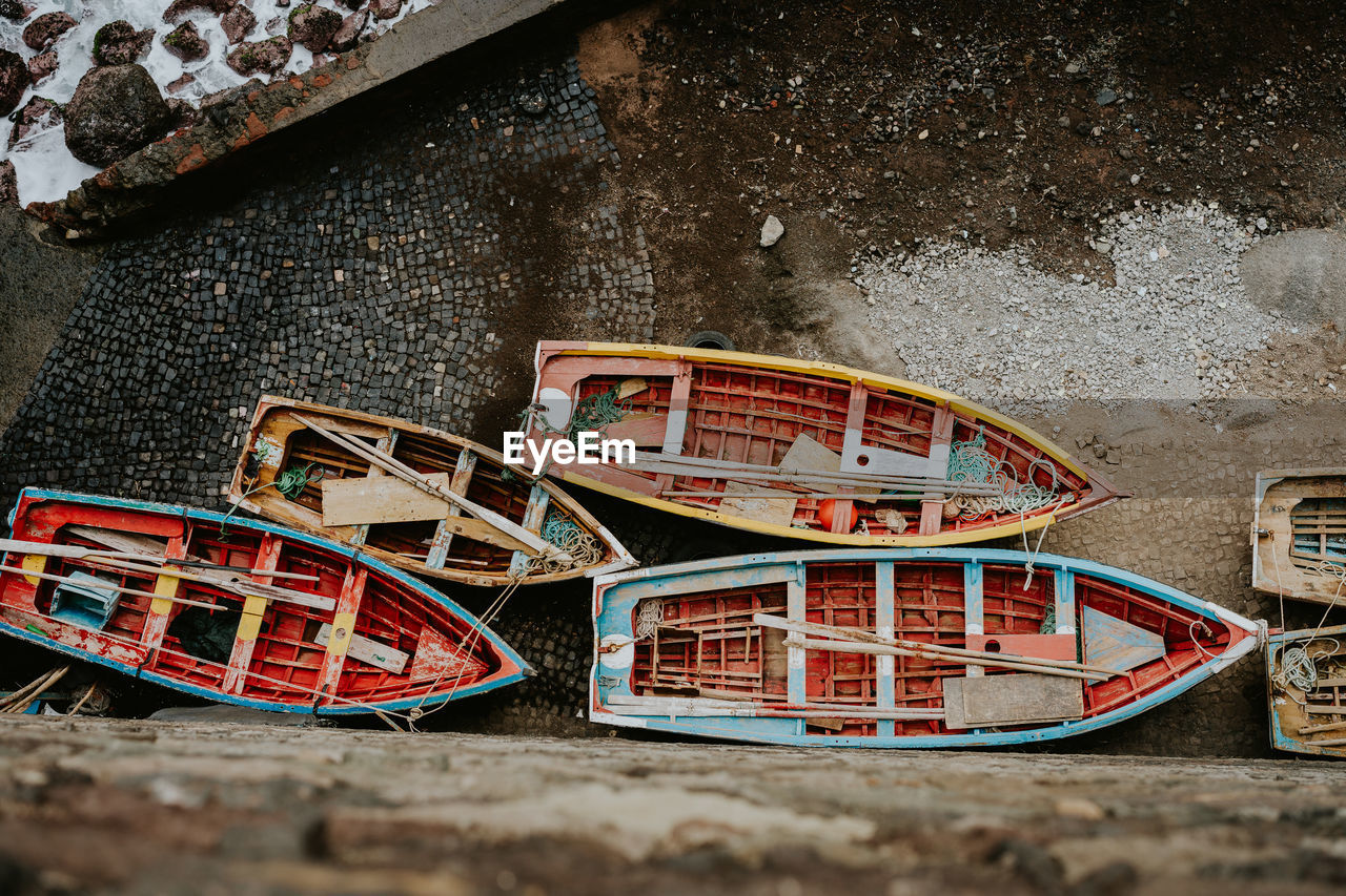 High Angle View Of Boats On Shore