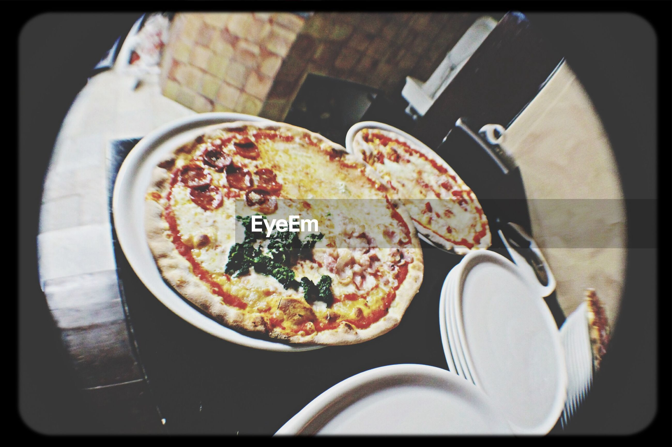 transfer print, food and drink, auto post production filter, food, indoors, high angle view, freshness, plate, table, still life, close-up, bowl, ready-to-eat, healthy eating, fork, spoon, directly above, no people, elevated view, meal