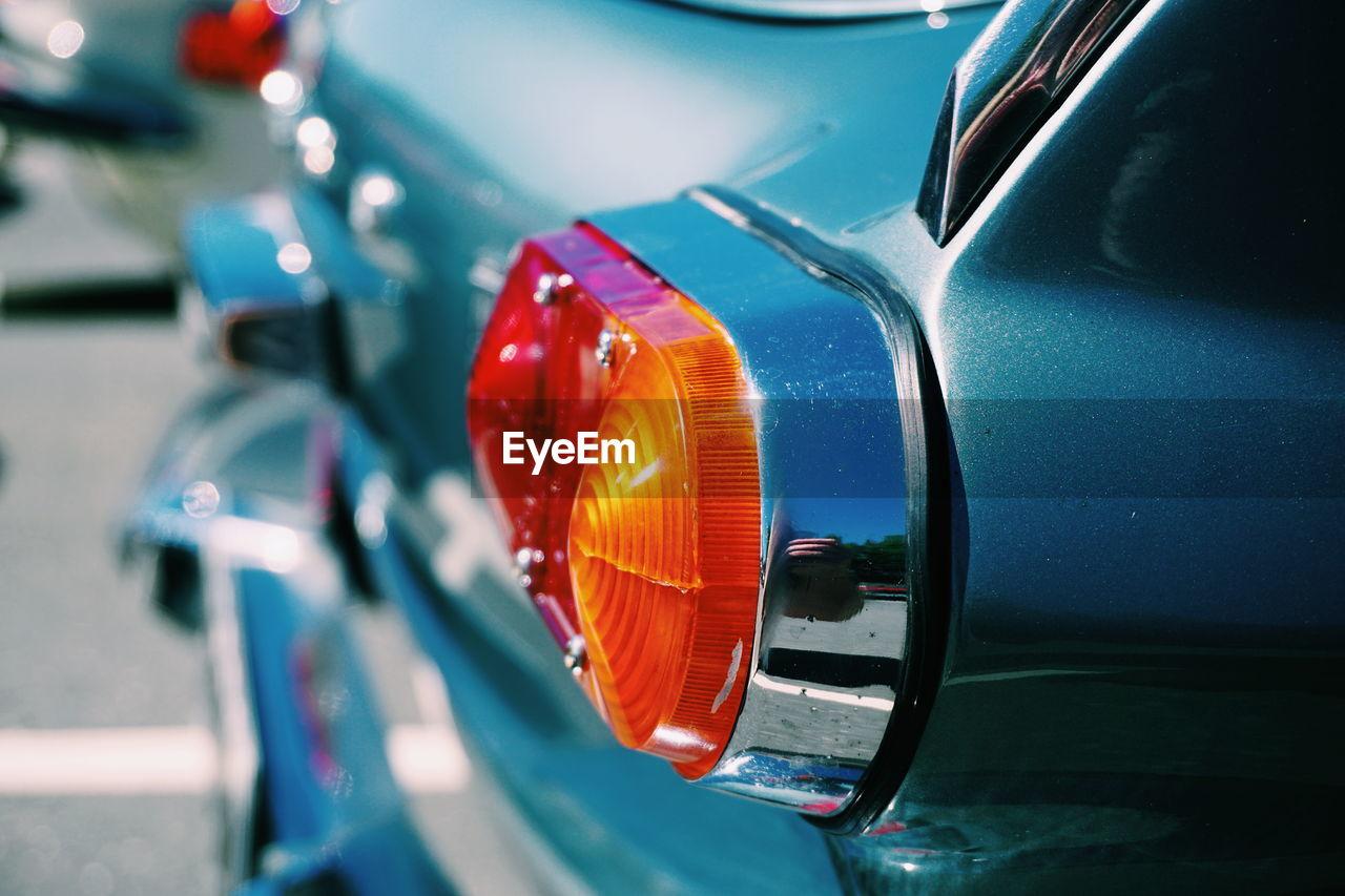 Close-up of vintage car tail light