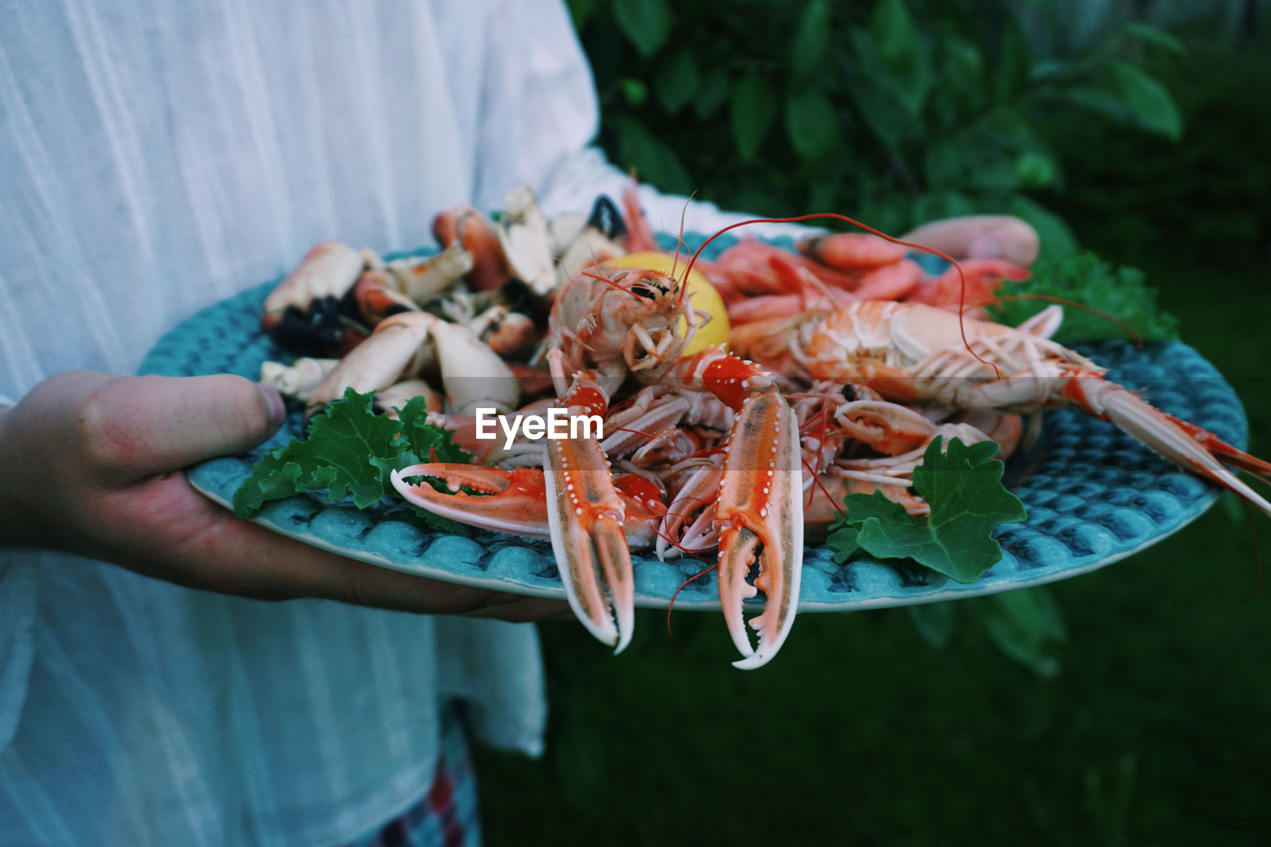 Midsection of woman holding seafood in plate