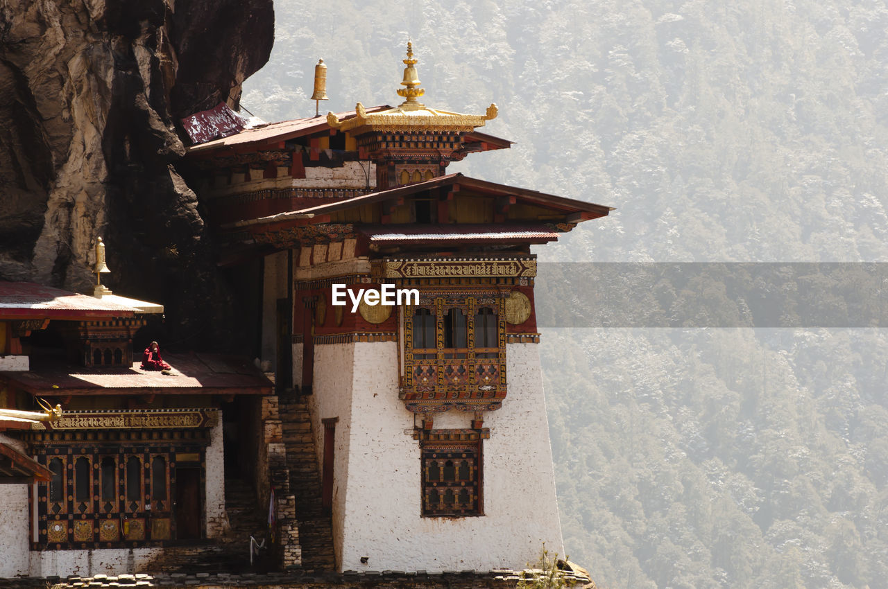 Temple against mountains